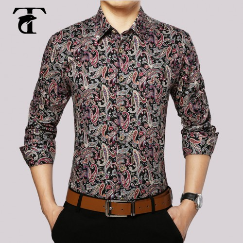 2017 Long Sleeve Floral Men Shirt Cotton Fashion Turn down Collar Button Mens Clothing Vintage Print