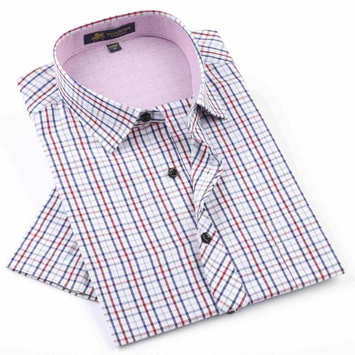 2017 NEW Brand Men s shirts Fashion Casual Plaid short sleeve shirt men Dress shirt spring