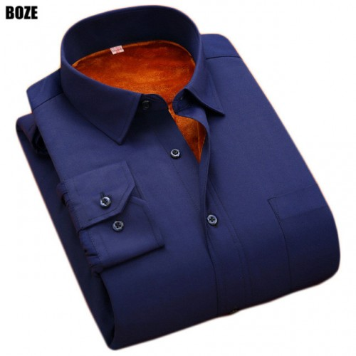 BOZE 2017 Plus size 8XL 5XL 6XL Mens Solid Dress Shirt Warm Long Sleeve Velvet Thermal