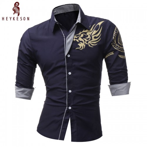 HEYKESON 2017 New Men S Long Sleeved Dress Shirt Dragons Men S Casual Slim Lapel Male