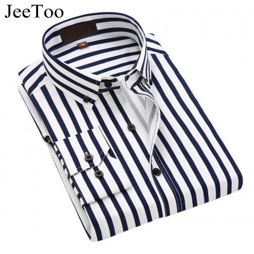 JeeToo 2017 Men Shirts Long Sleeve Cotton Mens Dress Shirts Striped Business Men Casual Shirt Slim