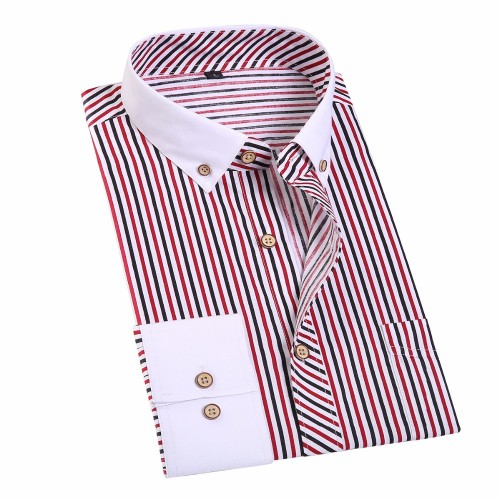 JeeToo Striped Men Dress Shirt Business Formal Men s Shirts Long Sleeve Cufflinks Shirts Cotton Men