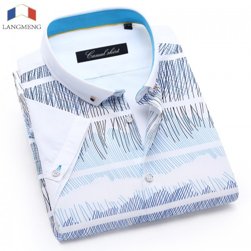 LANGMENG 2017 Brand Wholesale 100 Cotton Mens Dress Shirts Male Short Sleeve Casual Shirt Men Camisa