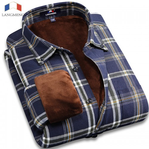 Langmeng 2017 men plus size 5XL winter super warm men plaid shirts wholesale men dress shirts