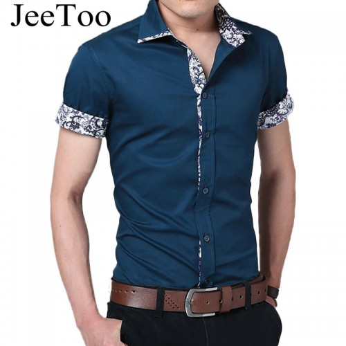 Male Shirt Brand Summer Mens Dress Shirts Short Sleeve Casual Shirt Men Slim Fit Camisa Design