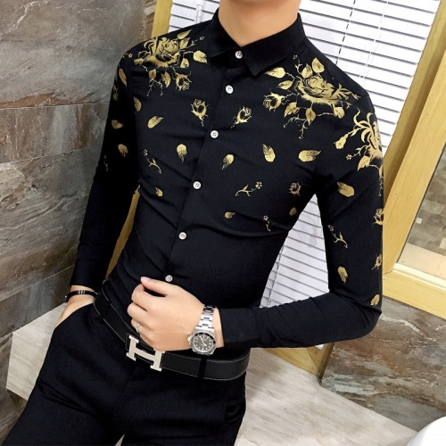 Men Dress Shirt with Gold Print Black White Long Sleeve Fashion Designer Shirt Fancy Shirts Men