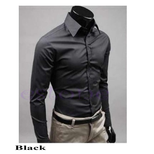New Fashion Mens Luxury Stylish Casual Dress Slim Fit Casual Long Sleeve Blouse