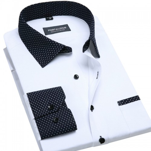 Port Lotus Contrasted Men Dress Shirts Blocking 095 Long Sleeve Wholesale Turn Down Collar Mens Clothing