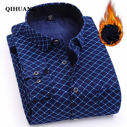 QIHUANG Winter Warm Thick Men Shirt 2017 Men Long Sleeve Shirt Striped Print luxury Brand Casual