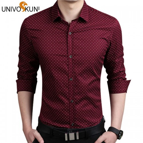 UNIVOS KUNI 5XL Mens Dress Shirts Autumn New Cotton Long Sleeve Business Men Shirt Slim Polka