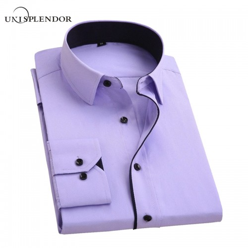 unisplendor Men Dress Shirts 2017 New Man Fashion Long Sleeve Slim Fit High Quality Solid Casual