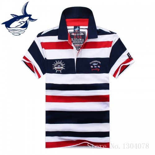 2017 High Quality Tops Tees Men s Tace Shark Polo Shirts fashion Style Summer Striped Shark