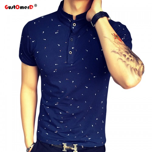 2017 Summer Guitar Printed Stand Collar Polo Shirt Men Short Sleeve Casual Men Shirts Slim Fit