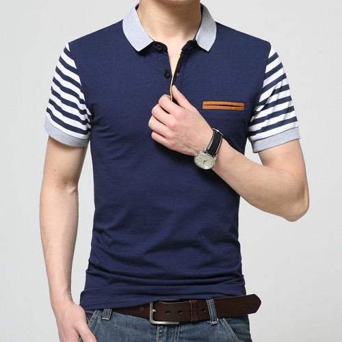 2017 mens brand clothing slim short sleeve shirt lapel business male polo shirt high quality cotton