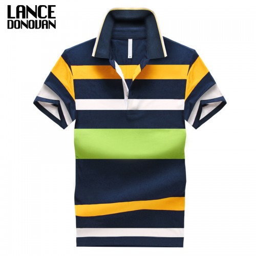92 Cotton camisa Men Polo Shirt Casual Striped Slim short sleeves ASIAN SIZE M 4XL
