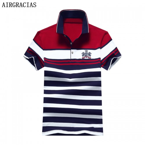 AIRGRACIAS 2017 New Fashion Summer Mens Polo Shirt Casual Striped Polo Shirt Men Cotton Shirt For