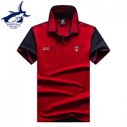 Brand clothing tace shark polo men classic solid color patchwork breathable cotton polo shirt men fashion