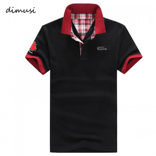 DIMUSI POLO Shirt Men Summer Casual Cotton Floral Collar Short Sleeve Shirts Camisas Polo ShirtsSolid Mens