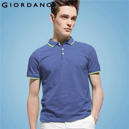 Giordano Men Branded Polo Shirt Short Sleeves Collar Solid Cotton Camisa Polos Homme Clothing Chemmise Famous