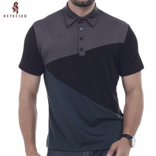 HEYKESON Brand 2017 Fashion Male Lapel Polo Shirt Man Short Sleeve Slim Slim Polo Men XXXL