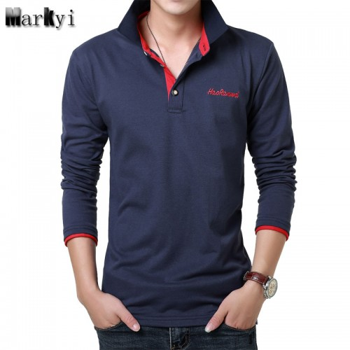 MarKyi 2017 Fashion Embroidered Logo Mens Polo Shirts Brands 23 Colors Casual Polo Long Sleeve Shirts