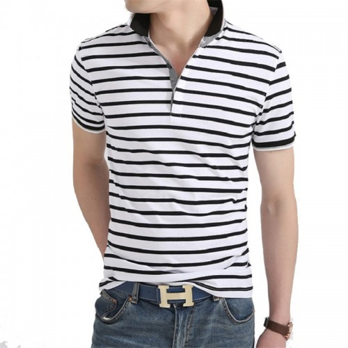 Men Polo Shirt 2017 Summer Men Business Casual Breathable White Striped Short Sleeve Polo Shirt Pure