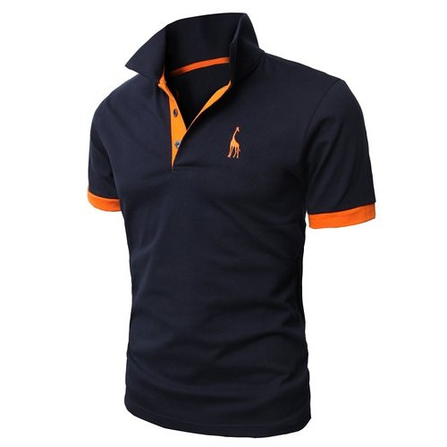 Men s Polo Shirt Embroidery Slim Tee Tops Short Sleeve Casual Slim Fit Cotton Solid Fashion