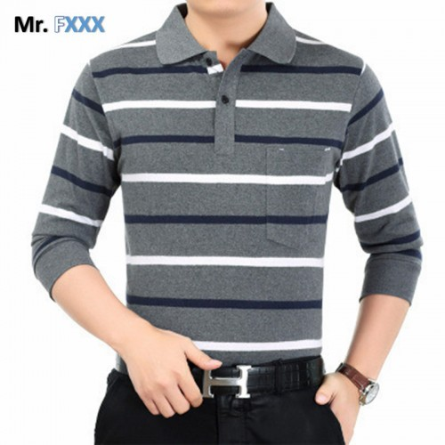 Stripe Polo Men 2017 Spring Brand Clothing Cotton Long Sleeve polo top Bottom Turn Down Collar