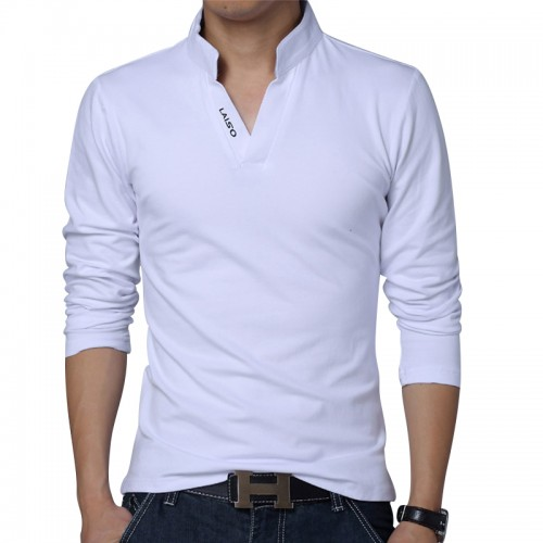 big size S 5XL 2017 mens fashion boutique cotton leisure stand collar long sleeve POLO shirts