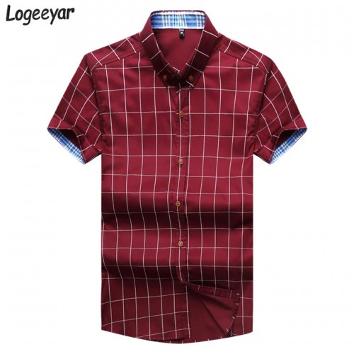 2017 Brand New Fashion Summer Short Sleeve Men s Shirt Men Plaid Shirt Cotton Casual Slim