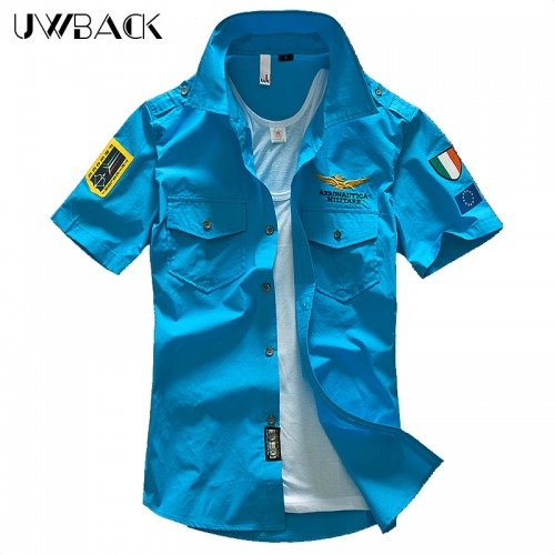 2017 Fashion Casual Men s Shirt Summer Air Force One Shirt Short Sleeve Cotton Shirts Plus