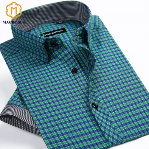 2017 New Arrival Summer Style Men s Short Sleeve Shirts Plaid Casual Fashion Shirts Slim Fit