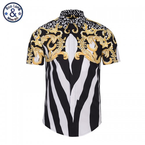 2017 New Versa Shirts 3D Zebra Stripes Flowers print Men Novel Short Sleeve Dress Shirts Free