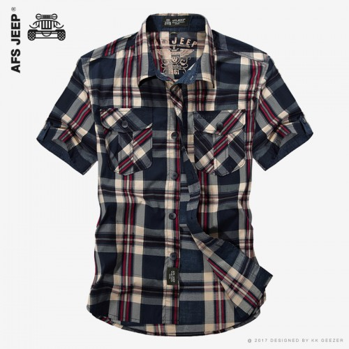 AFS JEEP Men Brand Cotton Plaid Casual Shirt High Quality Summer Lattice Fashion Loose Short Sleeve