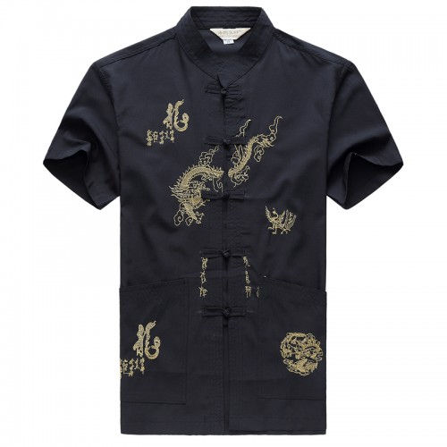 Chinese Style Men Shirt Summer Fashion New Dragon Designer Short Sleeve Shirts Cotton Stand Collar Male