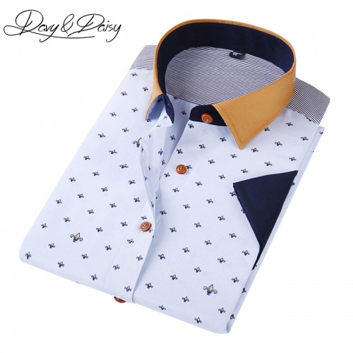 DAVYDAISY Men Casual Shirt Short Sleeve Summer High Quality Fashion Printed Shirts Male Dress Brand