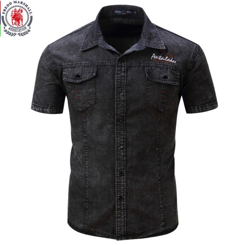 FREDD MARSHALL Brand New Shirt Men Short Sleeve Denim Shirt Mens Casual Dress Male Jean Shirts