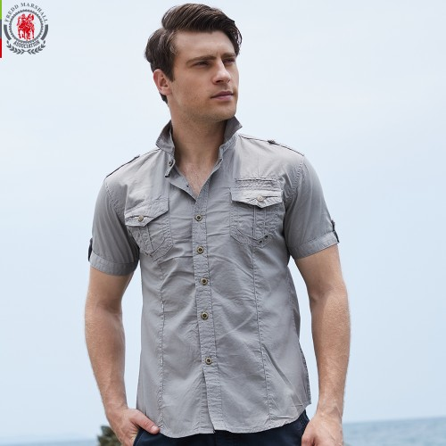 FREDD MARSHAll Brand New Arrival Mens Cargo Shirt Men Casual Shirt Solid Short Sleeve Shirts Work