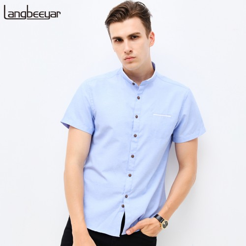 Fashion Brand Clothing Mens Short Sleeve Shirt Summer New Mandarin Collar Slim Fit Shirt M