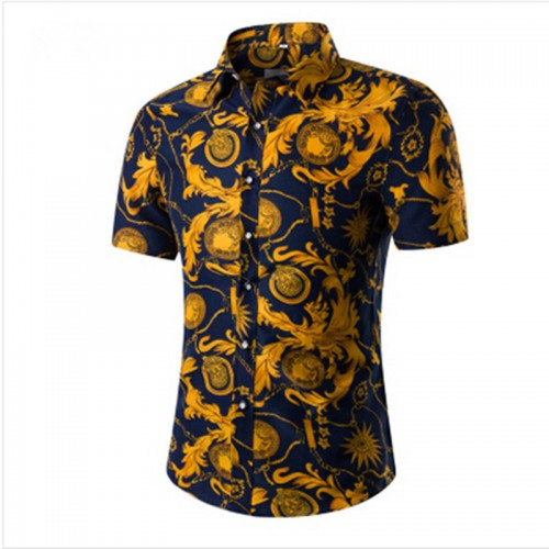 Fashion Mens Short Sleeve Hawaiian Shirt Summer Casual Floral Shirts For Men Asian Size M