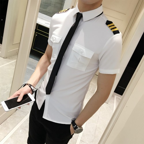 Flight Attendants Clothing Spring Men Short Sleeve Shirt Summer Slim Fit Casual Mens Shirts Summer Camisa