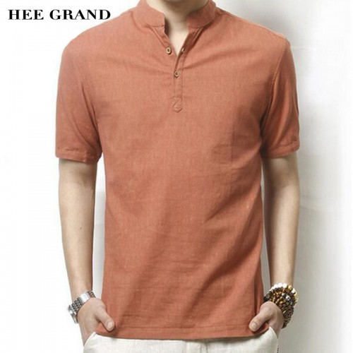 HEE GRAND Men Linen Short Sleeve Shirt Hot Summer New Arrival Solid Color Casual Mandarin Collar