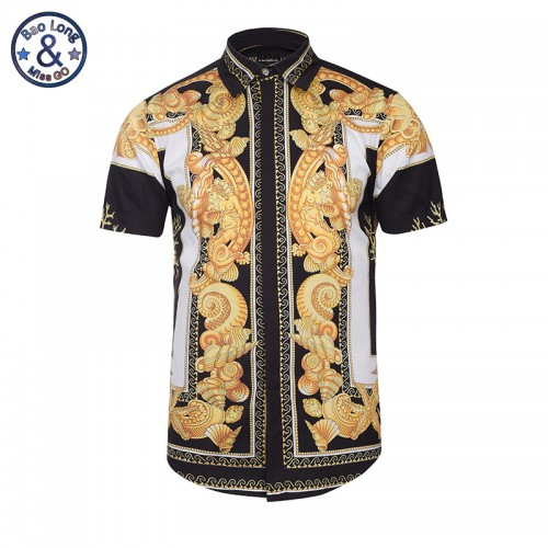 Hawaiian Shirts Summer Style Men Short Sleeve Floral Dress Shirts Unique Medusa Shirt Fashion 3D Print