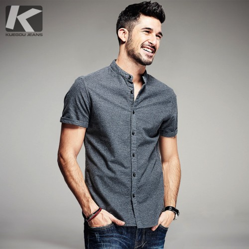 KUEGOU Summer Mens Casual Shirts 100 Cotton Gray Color Brand Clothing Man s Wear Slim Fit