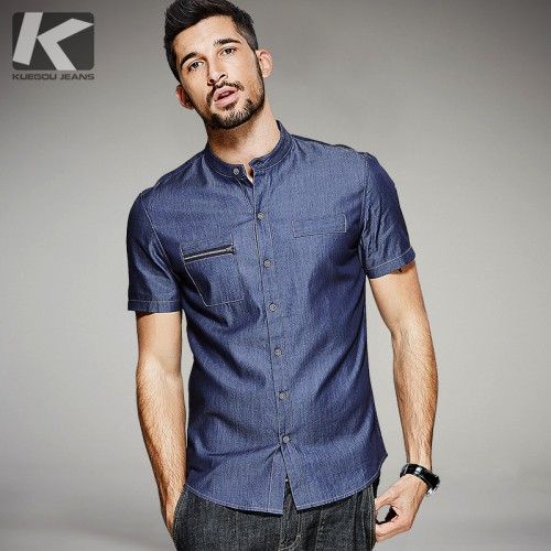 KUEGOU Summer Mens Denim Shirts Zipper Pocket Blue Color Brand Clothing Man s Short Sleeve