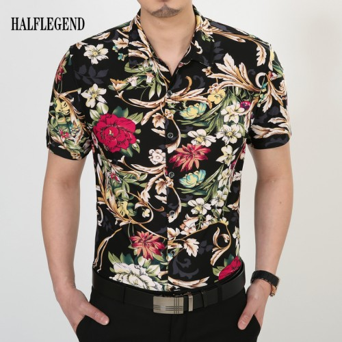 Male Shirts 2017 New Summer Fashion Men Clothing Printed Tops breathable Flower Hawaiian Shirt Short Sleeve