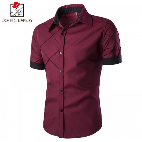 Men Shirt Short Sleeve Brand Shirts Men Casual Shirt Slim Fit Lattice Alignment Design Chemise