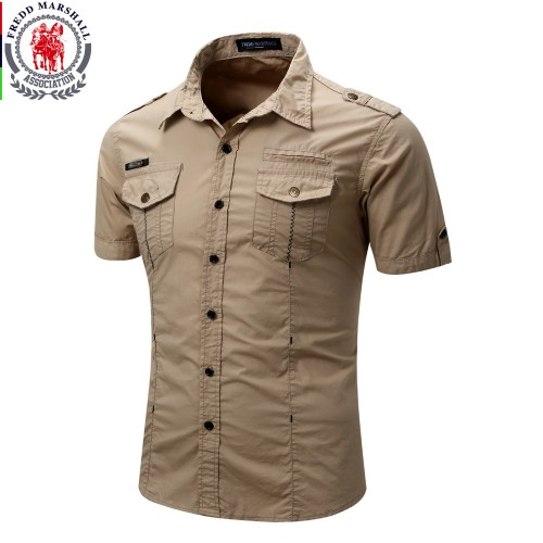 Men s Shirt New Men Cargo Shirt Fashion Casual Shirt Summer Style 100 Cotton Solid
