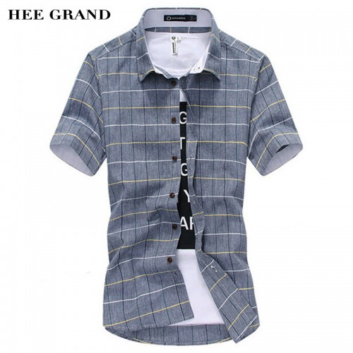 Men s Shirt Short Sleeve New Arrival Fashion Slim Grid Style M 5XL Size Casual