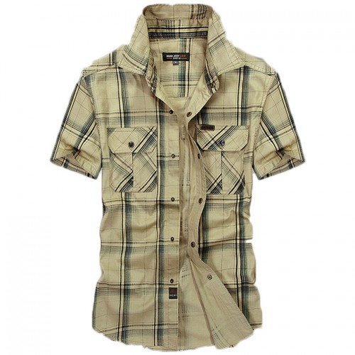 Men s short sleeved plaid shirt summer new fashion England shirt mens slim fit casual shirts